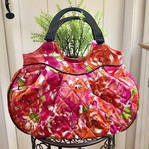 """NWOT VERA BRADLEY Hot Pink """"Vintage Rose"""" Handbag"""